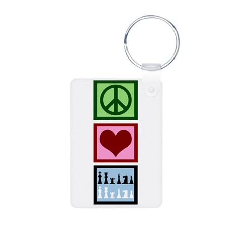 Peace Love Chess Aluminum Photo Keychain