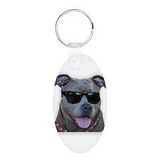 Pitbull in sunglasses Keychains
