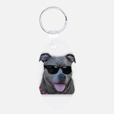 Pitbull in sunglasses Keychains