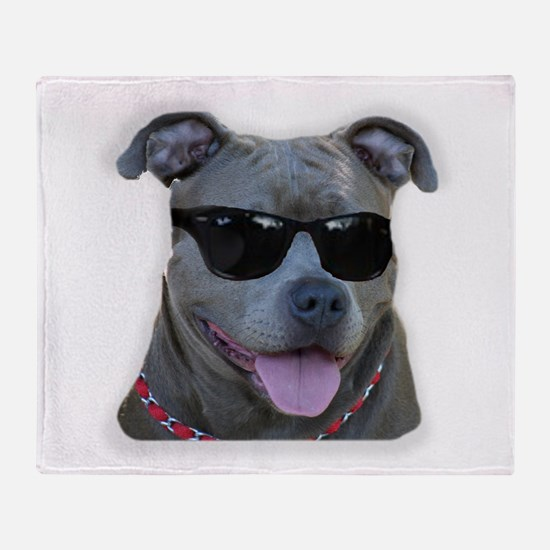 Pitbull in sunglasses Throw Blanket