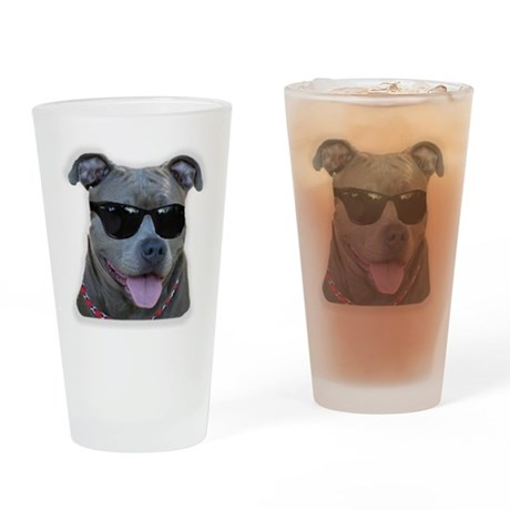 Pitbull in sunglasses Drinking Glass