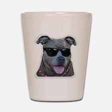 Pitbull in sunglasses Shot Glass