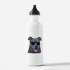 Pitbull in sunglasses Water Bottle