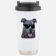 Pitbull in sunglasses Stainless Steel Travel Mug