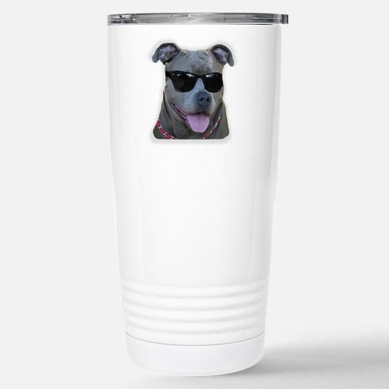 Pitbull in sunglasses Stainless Steel Travel Mug