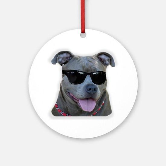 Pitbull in sunglasses Ornament (Round)