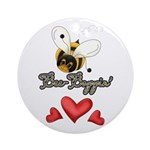 Funny Bumble Bee Ornament (Round)