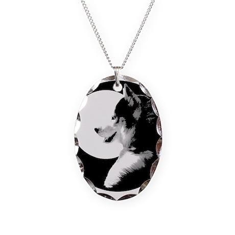 Siberian Husky Sled Dog Necklace Oval Charm