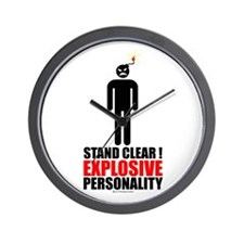 Stand clear! explosive person Wall Clock
