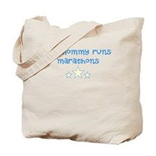 my mommy runs (blue) Tote Bag