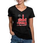 I Stand Strong Melanoma Women's V-Neck Dark T-Shir