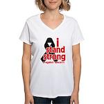 I Stand Strong Melanoma Women's V-Neck T-Shirt