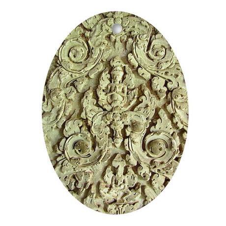 Brahma in Stucco at Angkor Wa Ornament (Oval)