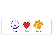 Peace Love Rescue Bumper Car Sticker