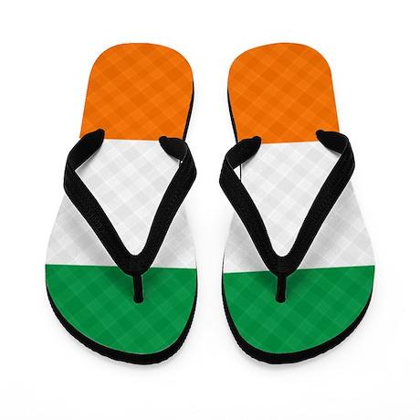 Irish Flag Plaid Flip Flops