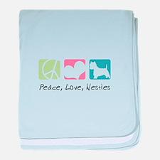Peace, Love, Westies baby blanket