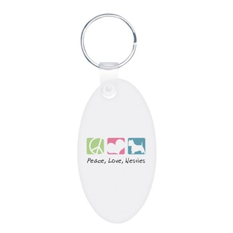 Peace, Love, Westies Aluminum Oval Keychain