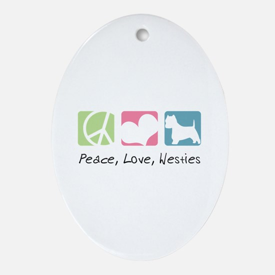 Peace, Love, Westies Ornament (Oval)