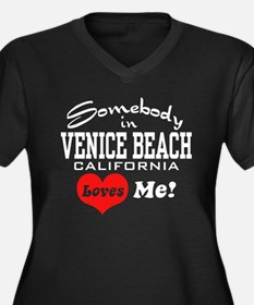 Venice Beach Women's Plus Size V-Neck Dark T-Shirt