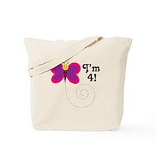 4th Birthday Princess Crown Tote Bag