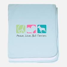Peace, Love, Bull Terriers baby blanket