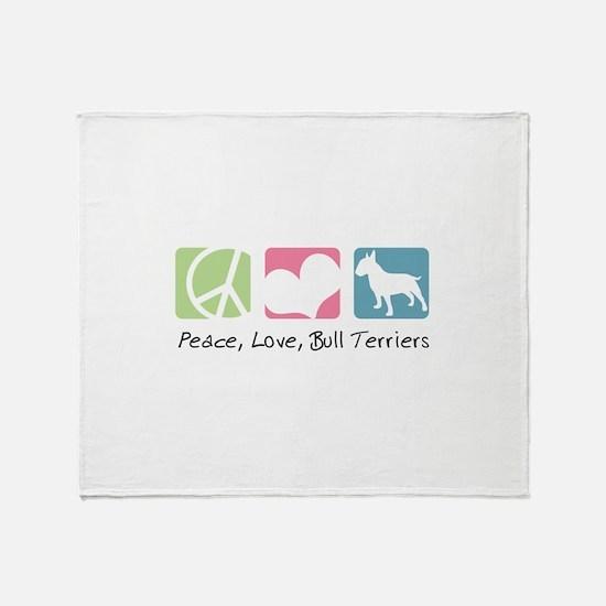 Peace, Love, Bull Terriers Throw Blanket