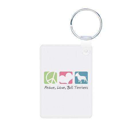 Peace, Love, Bull Terriers Aluminum Photo Keychain