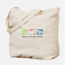 Peace, Love, Bull Terriers Tote Bag