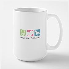 Peace, Love, Bull Terriers Large Mug