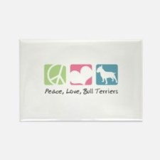 Peace, Love, Bull Terriers Rectangle Magnet (100 p