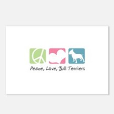 Peace, Love, Bull Terriers Postcards (Package of 8