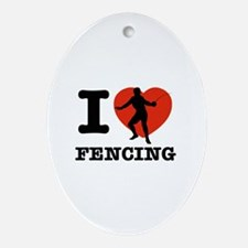 I love Fencing Ornament (Oval)