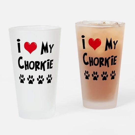 I Love My Chorkie Drinking Glass