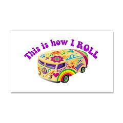 How I Roll Hippie Van Car Magnet 20 x 12