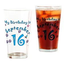 September 16th Birthday Drinking Glass