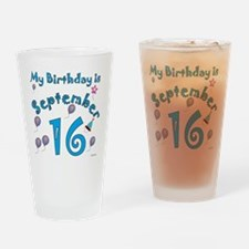 September 16th Birthday Drinking Glass