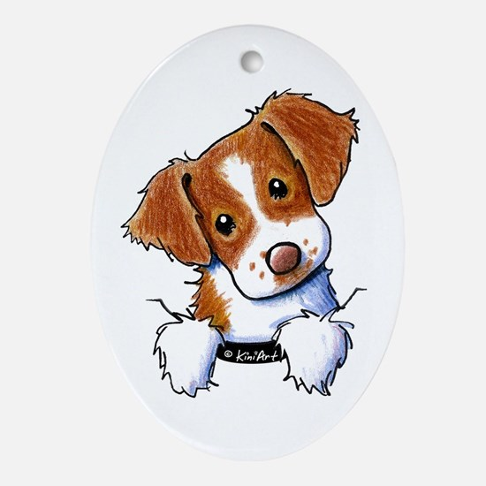 Pocket Brittany Ornament (Oval)