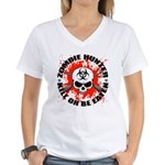Zombie Hunter 1 Women's V-Neck T-Shirt