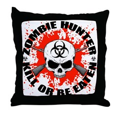 Zombie Hunter 1 Throw Pillow