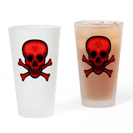 Red Biohazard Skull Drinking Glass