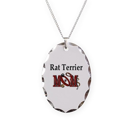 Rat Terrier Mom Necklace Oval Charm