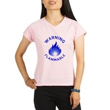 Flammable Warning (blue) Performance Dry T-Shirt