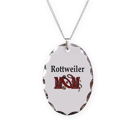 Rottweiler Mom Necklace Oval Charm
