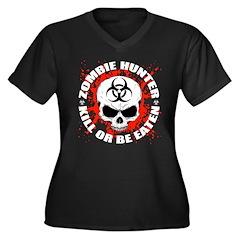 Zombie Hunter 3 Women's Plus Size V-Neck Dark T-Sh