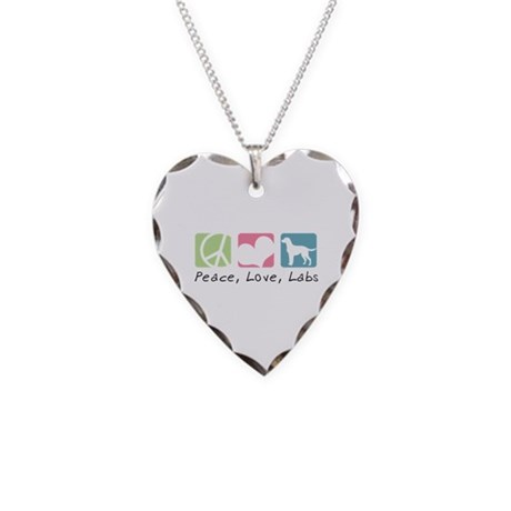Peace, Love, Labs Necklace Heart Charm