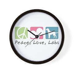Peace, Love, Labs Wall Clock