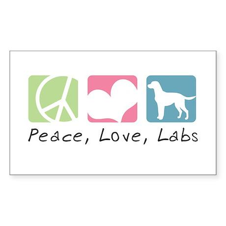Peace, Love, Labs Sticker (Rectangle)