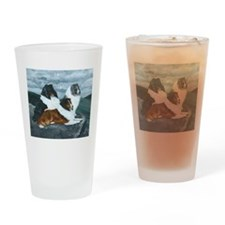 Shelties in the Mist Drinking Glass