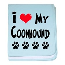 I Love My Coonhound baby blanket