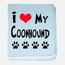 I Love My Coonhound baby blanket